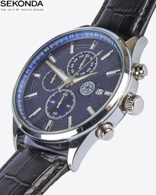 Leicester City Black Leather Strap Watch