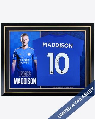 Leicester City 2019/20 Season Maddison Framed Signed Shirt