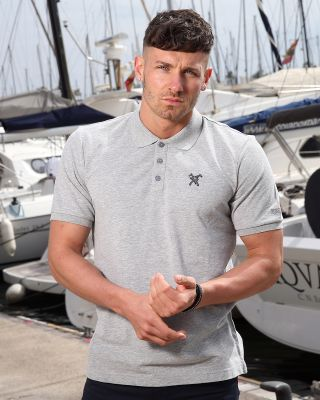 Fox & Crop Mens Grey Polo
