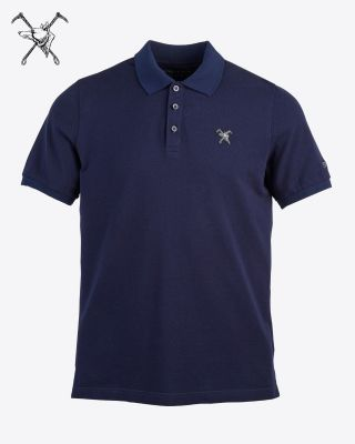 Fox & Crop Mens Navy Polo