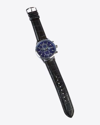 LCFC Black Leather Strap Watch