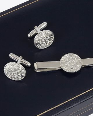 Leicester City Silver Cufflinks & Slide Set