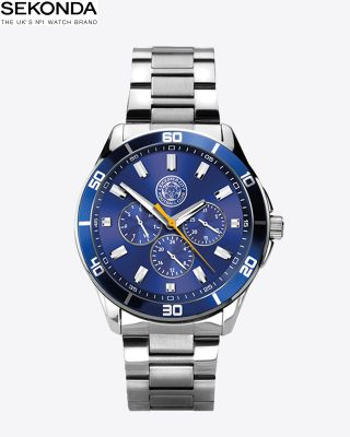 Leicester City Mens Blue Face Silver Watch