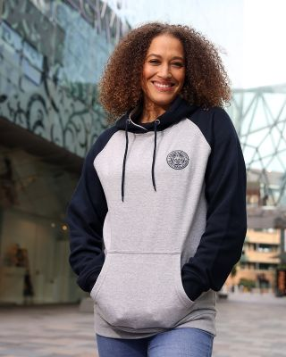 Leicester City Womens Grey/Navy Crest Hoody