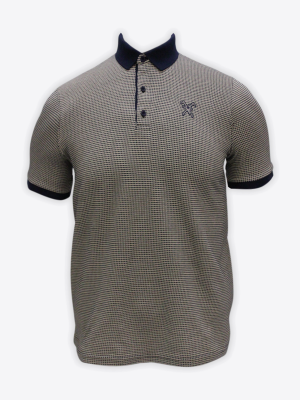 Fox & Crop - Mens Navy Jaquard Polo