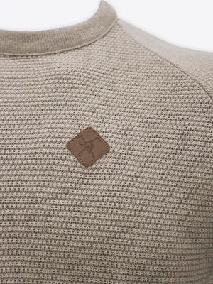 Fox & Crop - Mens Sand Waffle Knit