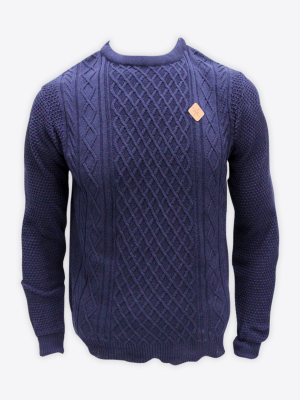 Fox & Crop - Mens Navy Cable Knit