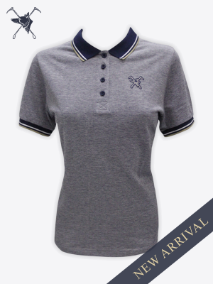 Fox & Crop - Womens Navy Polo