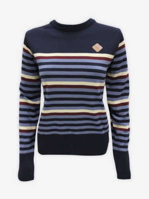 Fox & Crop - Womens Navy Striped Jumper