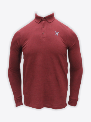 Fox & Crop - Mens Maroon Long Sleeve Polo