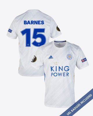 Harvey Barnes - Leicester City White Away Shirt 2020/21 - UEL