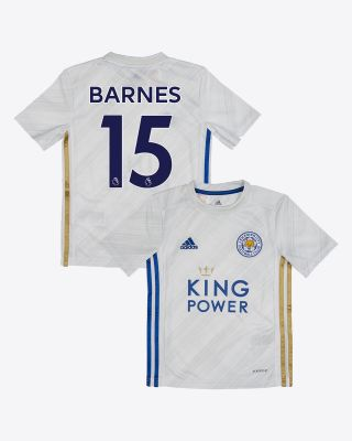 Harvey Barnes - Leicester City White Away Shirt 2020/21 - Kids