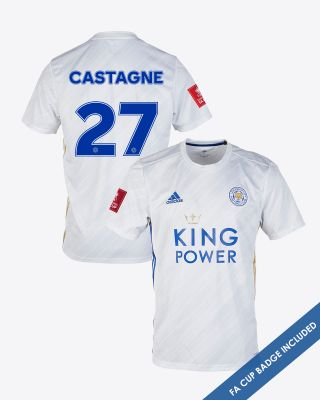 Timothy Castagne  - Leicester City White Away Shirt 2020/21 - FA CUP
