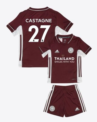 Timothy Castagne  - Leicester City Maroon Away Shirt 2020/21 - Mini Kit