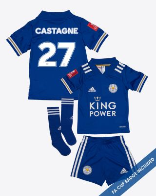 Timothy Castagne  - Leicester City King Power Home Shirt 2020/21- Mini Kit FA CUP