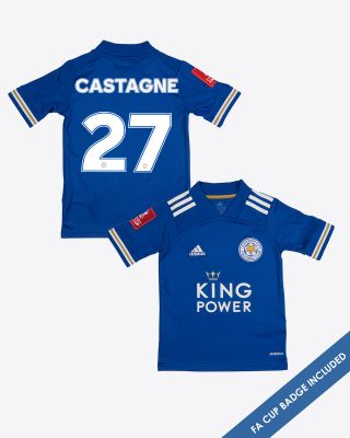 Timothy Castagne  - Leicester City King Power Home Shirt 2020/21 - Kids FA CUP