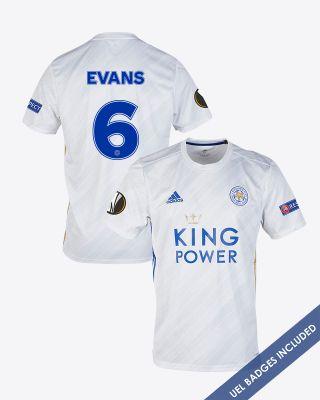 Jonny Evans - Leicester City White Away Shirt 2020/21 - UEL