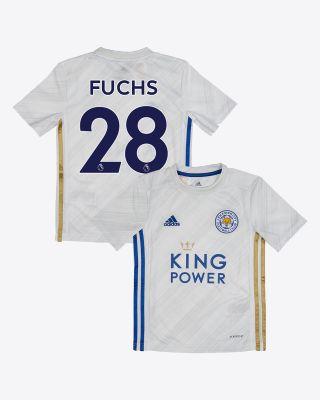 Christian Fuchs - Leicester City White Away Shirt 2020/21 - Kids