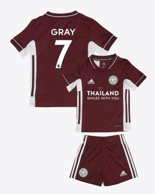 Demarai Gray - Leicester City Maroon Away Shirt 2020/21 - Mini Kit