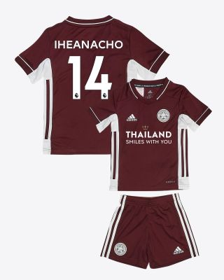 Kelechi Iheanacho - Leicester City Maroon Away Shirt 2020/21 - Mini Kit