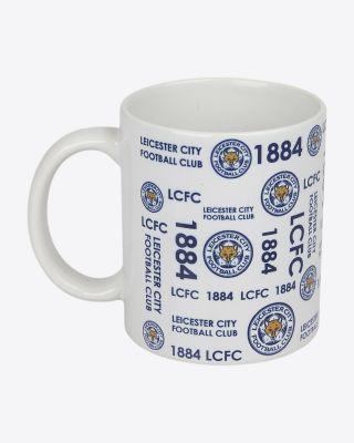 Leicester City Multi Text & Crest Mug