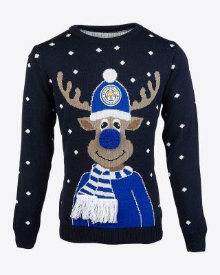 Leicester City Adult Reindeer Christmas Jumper