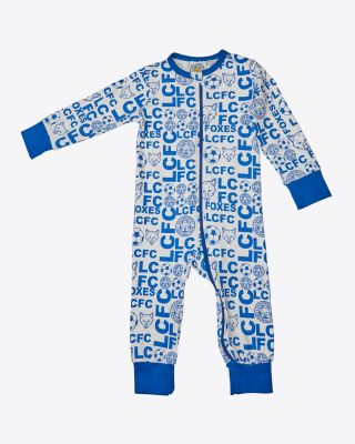 Leicester City All Over Print Blue Babygrow