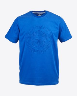 Leicester City Mens Blue Embossed Crest T-Shirt