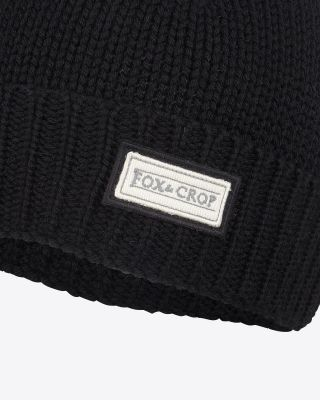Fox & Crop Black Beanie Hat