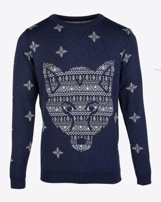 Leicester City Adult Navy Fox Head Christmas Jumper