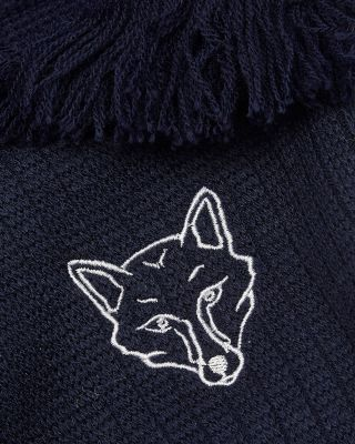 Leicester City Navy Ribbed Fox Head Scarf