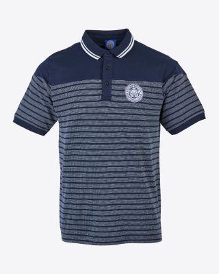 Leicester City Mens Navy Stripe Crest Polo