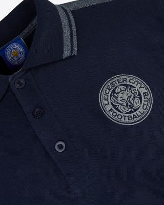Leicester City Mens Navy/Grey Crest Polo