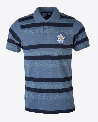 Leicester City Mens Grey Stripe Polo