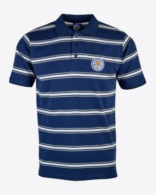 Leicester City Mens White Stripe Crest Polo