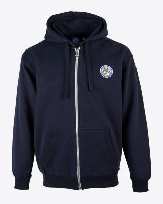 Leicester City Mens Navy Zip Crest Hoody
