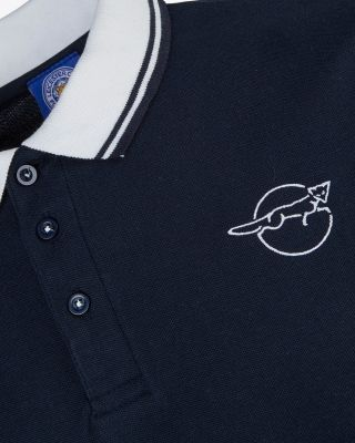Leicester City Mens Navy Running Fox Polo