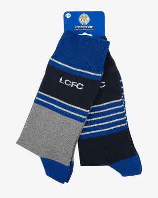 Leicester City Mens Twin Pack Stripe LCFC Socks