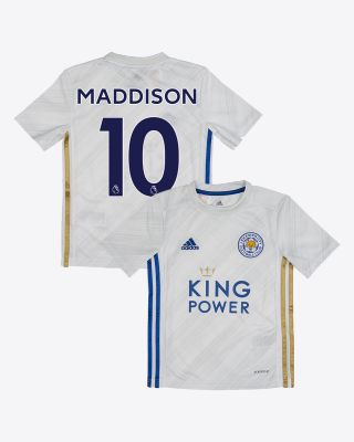 James Maddison - Leicester City White Away Shirt 2020/21 - Kids