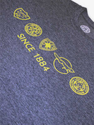 Leicester City Mens Navy Retro Crests T-Shirt
