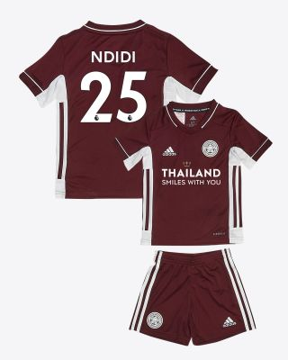 Wilfred Ndidi - Leicester City Maroon Away Shirt 2020/21 - Mini Kit