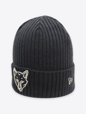 New Era - Womens Black Fox Cuff Knit Hat