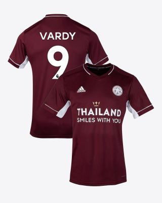 Jamie Vardy - Leicester City Maroon Away Shirt 2020/21 - Kids