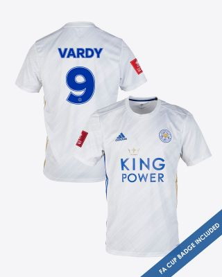 Jamie Vardy - Leicester City White Away Shirt 2020/21 - FA CUP