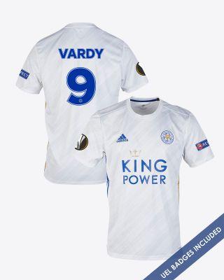 Jamie Vardy - Leicester City White Away Shirt 2020/21 - UEL