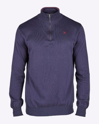 Fox & Crop Mens Half Zip Knit Navy