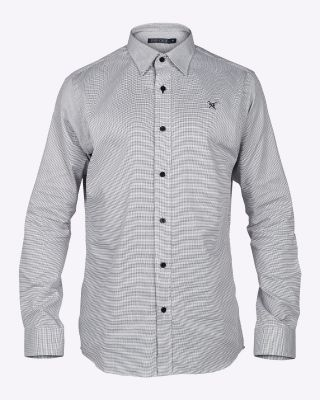 Fox & Crop Mens Formal Shirt Black/White