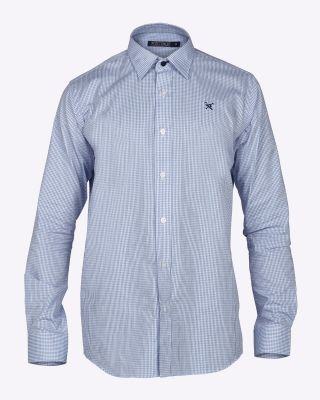 Fox & Crop Mens Gingham Shirt Blue