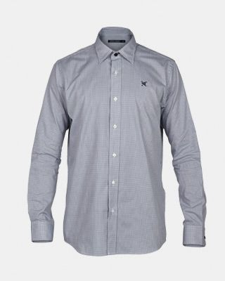 Fox & Crop Mens Gingham Shirt Grey