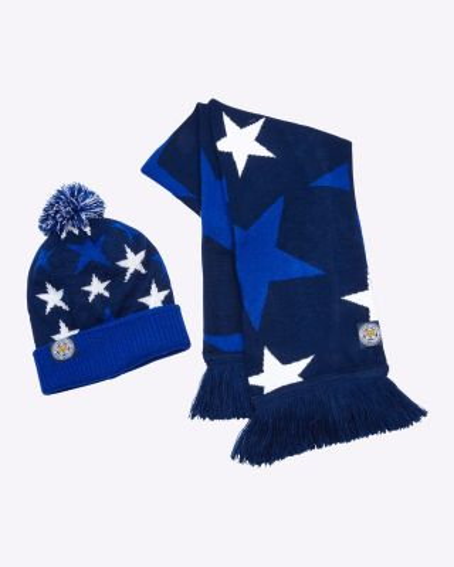 LCFC Childs Hat & Scarf Set Star Design